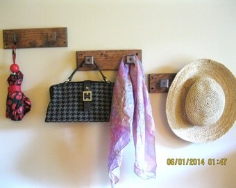 Unique Walnut Wooden Wall Coat Rack Jewelry Organizer