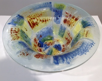 Vintage Higgins Glass Early 3 Layer Stained Fused Glass Deep Bowl Signed