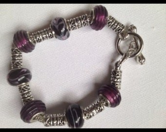Black and Maroon Murano glass beads on a snake chain Bracelet