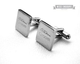 Cufflinks - Stainless steel for the groomsman, Heirlom quality cuff links, Team Groom