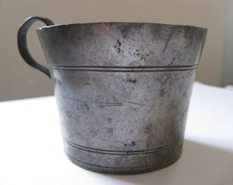Vintage Pewter Cup with Etched Stripe Design