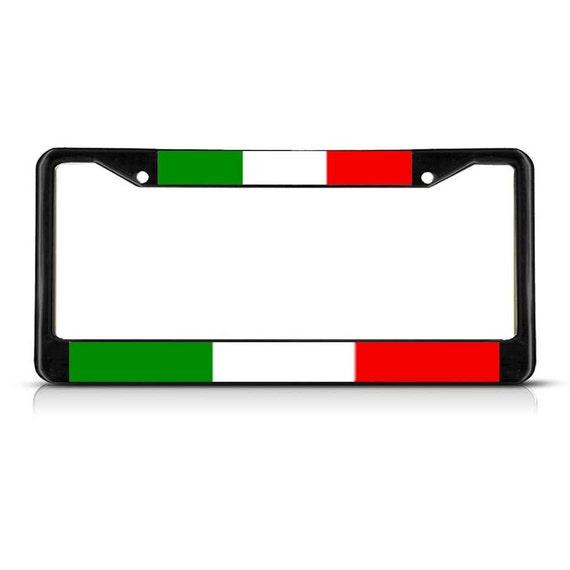 italie drapeau noir bord tag du cadre de plaque d 39 immatriculation couleur chrome m tal heavy duty. Black Bedroom Furniture Sets. Home Design Ideas