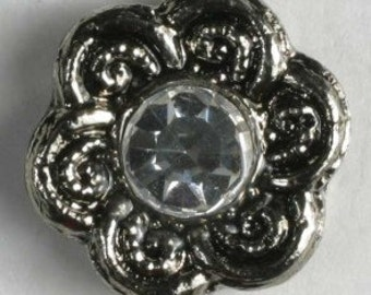 Dill Buttons USA 11MM Flower Antique Silver w/ Rhinestone Middle Button 288