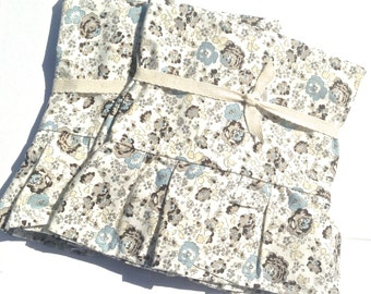 Floral Pillowcase Set- Ruffle Pillowcase Set- Shabby chic Pillowcase set- Cotton Pillow Cover-