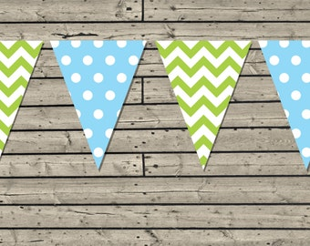 Printable Light Blue & Green Banner. Chevron and polka dots. Party flags. Garland. Instant Download.