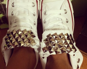 White Custom Studded Converse All Star -Chuck Taylor High Tops! ALL SIZES & COLORS! White Converse; High Top Shoes; Studded Chucks;