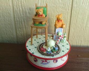 "Animated Music Box with Teddy Bear, ""Playmates""."