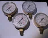 Lot of 4 Assorted Pressure Guages psi kPa Brass Color with Plastic Dials - Used VINTAGE Steampunk