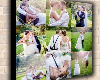 Photo to Canvas,Photo Collage,large  Poster Wedding Photo Collage Canvas Print Custom Collage Canvas Print, Wedding Canvas 16x16 up to 40x40