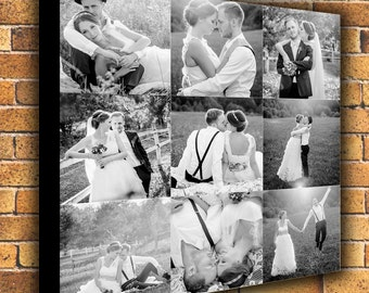 Personalized Photo Collage Canvas Print Art. Gallery Wrapped Canvas ready to hang on the wall. 16x16 up to 40x40