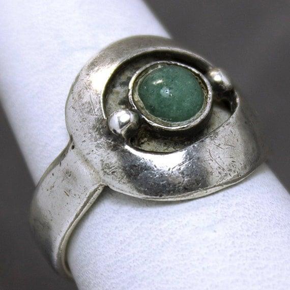 vintage taxco sterling silver aventurine ring