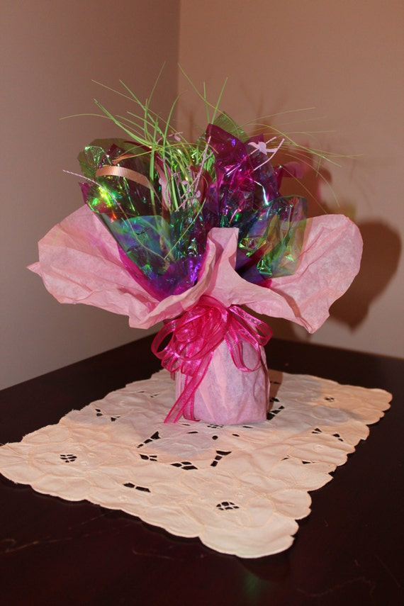 Colorful balloon weight centerpiece