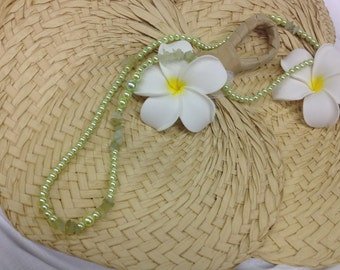 Soft Lime Green Necklace with Natural Stones
