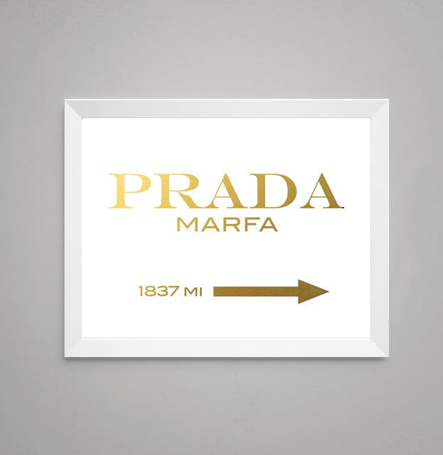 prada marfa faux gold foil print wall art by storybirdprints. Black Bedroom Furniture Sets. Home Design Ideas