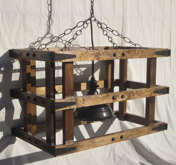 Rustic Wood Light Rustic Ceiling Light Wood Light Fixture: Rustic Light Wooden Cage Pendant Chandelier Wood Ceiling
