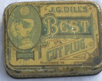 Tin - Tobacco Tin - J G Dill - Vintage