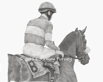 Zenyatta Thoroughbred Racehorse Art Print 11 x 17 inch