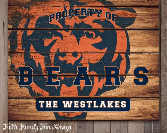 Personalized Nfl Man Cave Signs : Nfl chicago bears team sign printable personalized man cave