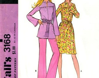 McCall's 3168 Charming Dress or Tunic & Pants 1972 / SZ10 UNCUT
