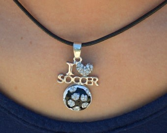 """Soccer Jewelry for Soccer Team Gifts, Soccer Necklace, I """"Heart"""" Soccer Necklace, I Love Soccer Jewelry, Girls Soccer Necklace, Soccer Gifts"""
