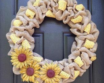 Yellow Chevron & Sunflowers Burlap Wreath, spring wreath, summer wreath, everyday wreath