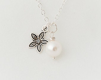 Delicate Necklace, Swarovski Pearl Necklace
