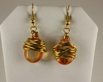 Amber glass teardrop gold wire wrapped earrings -E 226