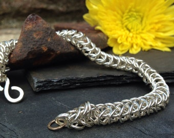 British Silver handmade linked bracelet.