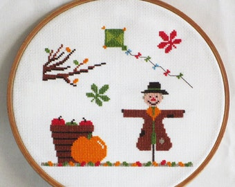 Autumn Cross Stitch Pattern-scarecrow, kite, pumpkin, tree, chestnut leaves, PDF, instant download