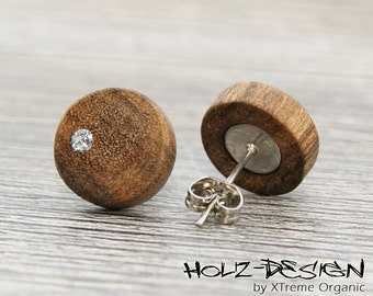 Wooden ear studs with Swarovski (R) Crystal Wooden Earrings wood post ear studs post stud Fake Faux Gauge Plug