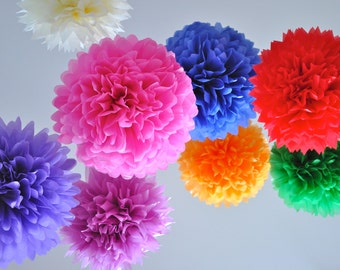 Tissue Paper Flowers set of 20 - Colorful - Hanging Flowers - Paper Pom Poms - Paper Balls - Wedding set - Birthday decorations