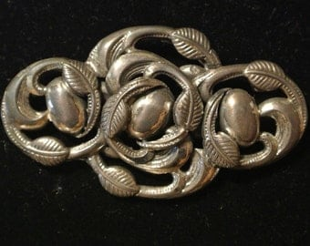 Genuine Norseland Sterling Silver Brooch Pin Leaves Grapes Fruit Design 925 ID#60