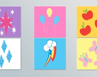 My Little Pony Inspired Cutie Mark Posters - Set of 6 Print Gift Set, Nursery Prints, Brony Gift