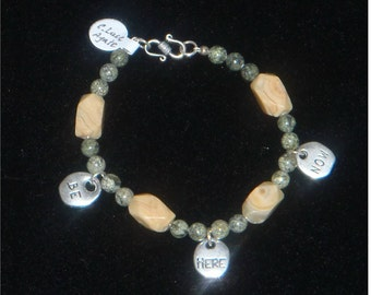 Gemstone Bracelet - Crazy Lace Agate and Serpentine with Charms