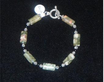 Gemstone Bracelet - Rhyolite, Black Onyx, and Sterling Silver / Fourth Chakra