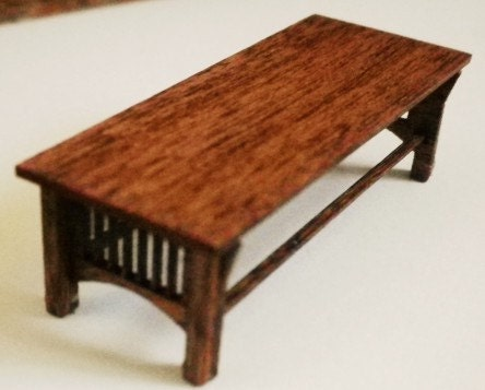 Stickley style coffee table kit quarter inch scale for Coffee table kit