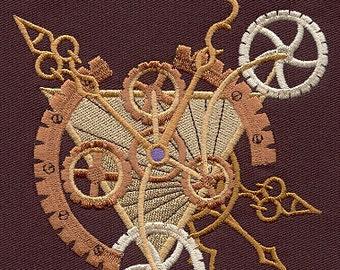 STEAMPUNK ALCHEMY CLOCKWORK Edgy Decor Machine Embroidered Quilt Block, Panel