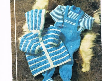 Baby Boy Dungarees Knitting Pattern : Pram outfit Etsy