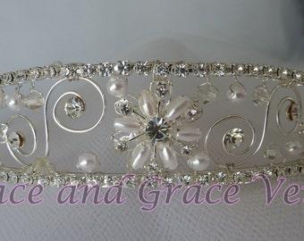 Rhinestone/Pearl/Crystal Tiara, Choice of Handmade Bow
