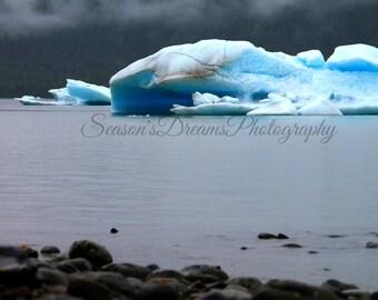 Alaskan glacier photography print.