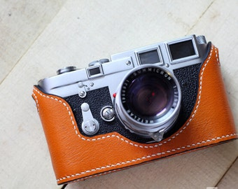 5Colors! Handstitching Leica M3 Case, Leica M3 Leather Cameras Case, Leather Half Camera Case Protector