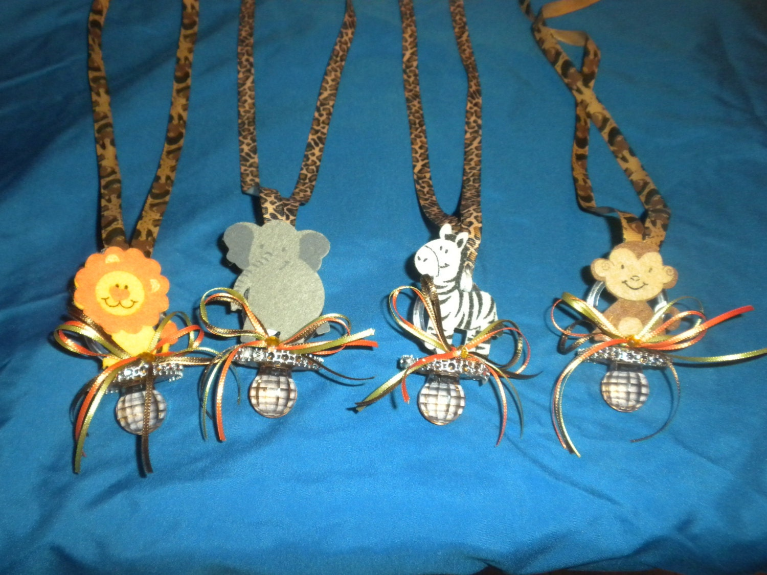 baby shower safari pacifier necklaces baby shower by southflower