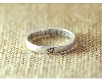 Personalized hammered rings, Engraved ring, 925 sterling silver ring, Personalized Jewelry, 3mm ring, Hand stamped ring, Customized ring