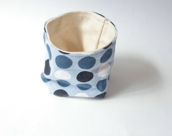 Handmade basket, fabric, textile, cotton, dots, white, blue, turquoise, bathroom, bed, nursery, cream, perfect smal gift
