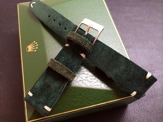 Handmade Vintage Leather Strap | Vintage Leather Strap | Leather Watch Strap | Vintage Leather Band | Suede Green for Rolex - 20mm/16mm