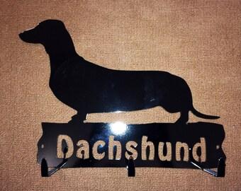 Dachshund leash rack key holder