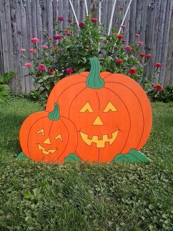 Thanksgiving Yard Decorations Wood : Halloween pumpkin outdoor wood yard art lawn