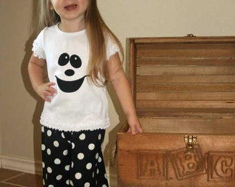 Ghost Pant Set, Halloween Pant Set,Personalized Shirt with Ruffle Shorts, Capri, or Pants