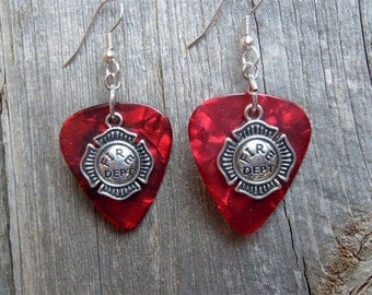 Fire Dept Shield Charm Guitar Pick Earrings - Pick Your Color