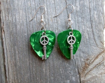 Key to Peace Guitar Pick Earrings - Pick Your Color